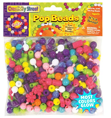 Creativity Street Pop Beads, Assorted Colors, Assorted Sizes, 300 Pieces