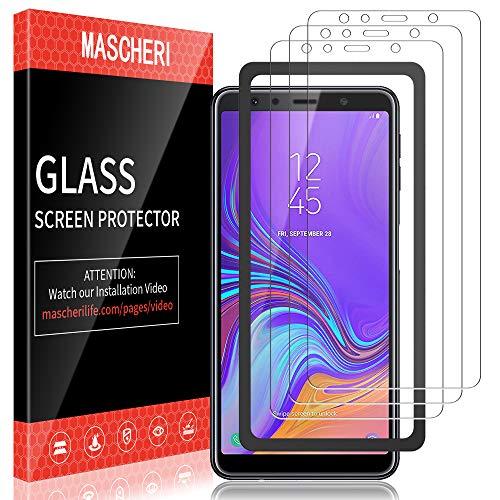 MASCHERI Protector de Pantalla para Samsung Galaxy A7 2018, [3-Unidades] [Marco de posicionamiento] Cristal Vidrio Templado Glass Screen Protector - Transparente
