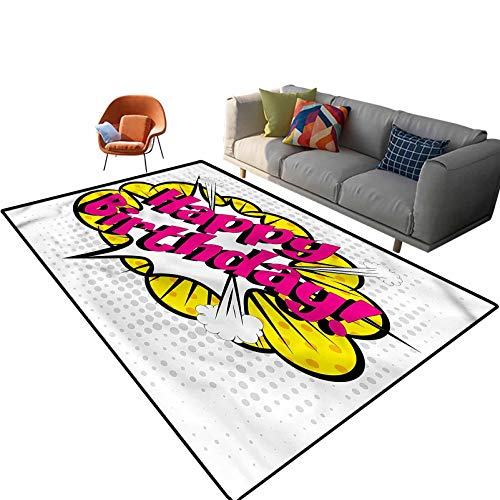 Indoor Room Birthday Area Rugs,5'x 7',Pop Art Greeting Dots Floor Rectangle Rug with Non Slip Backing for Entryway Living Room Bedroom Kids Nursery Sofa Home Decor
