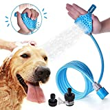 SIKSIN Pet Bathing Shower Sprayer Massage Scrubber in-One Carry, Adjustable Handheld Grooming Shower Head Brush for Bath Tub & Outdoor Garden Use with 2 Hose Faucet Adapter, Blue