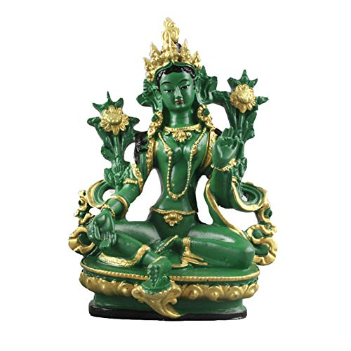 MKYXLN 13.5Cm Height Green Tara Small Resin Statues Buddha Buddhism Figurine