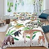 Erosebridal Kids Lion Comforter Cover Queen Size for Child Girls Boys Elephant Giraffe Cheetah Bedding Set, Monkey Zebra Duvet Cover Leopard Palm Tree Plant Animal Quilt Cover (No Comforter)