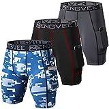 ZENGVEE Lot de 3 Shorts de Compression pour Hommes Collants de Sport Secs et Frais sous-Shorts de Sport Shorts de Couche de Base de Course avec Poches pour téléphone(1011-Black Gray Camo Blue-XL)