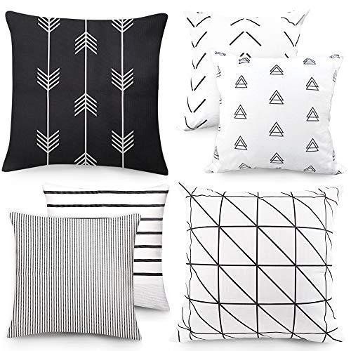 Outuxed 6er Set Geometrischen Dekorative Kissenbezüge 45x45cm Büro Sofa Dekoration aus Baumwolle und Leinen Zierkissenbezüge Serie Schwarz und Weiß