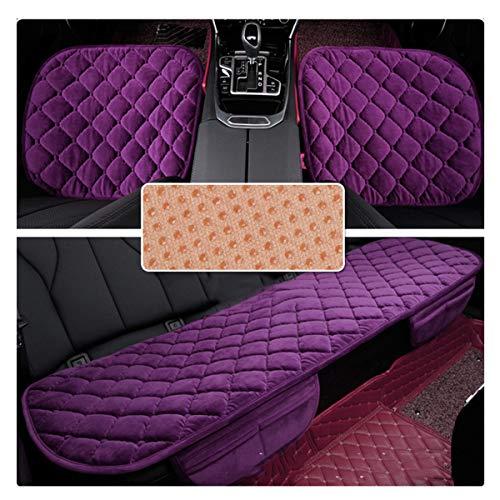 HotYou Sitzkissen Universal Sitzauflagen Autositzbezüge BambusKohle PU Leder Sitzauflage, Lila, Vordersitz & Rücksitz Set * 3 Pics