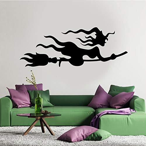 Heks kamer bezem op de muur sticker vinyl home decor kwekerij meisje slaapkamer sticker verwijderbare raam muurschildering 85.5x31.5cm