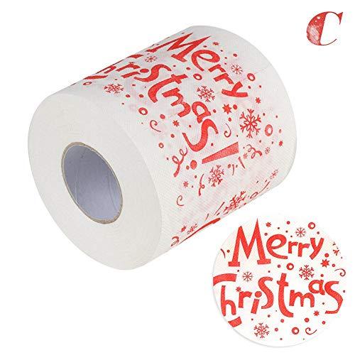 Thrivinger Papel Higiénico Navidad Santa Claus Elk Muñeco De Nieve Patrón Rollo De Papel Ideal para Familia,...