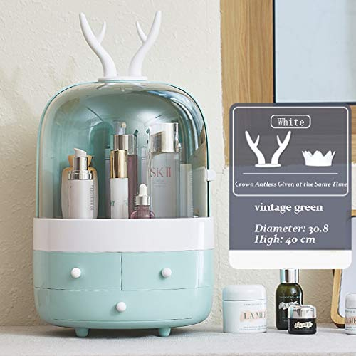 Make-up Organizer Cosmetische Storage Organizer 3 laden met grote capaciteit, water- en stofdicht Cosmetics Vitrine Makeup Tools Organizer (Color : Green)