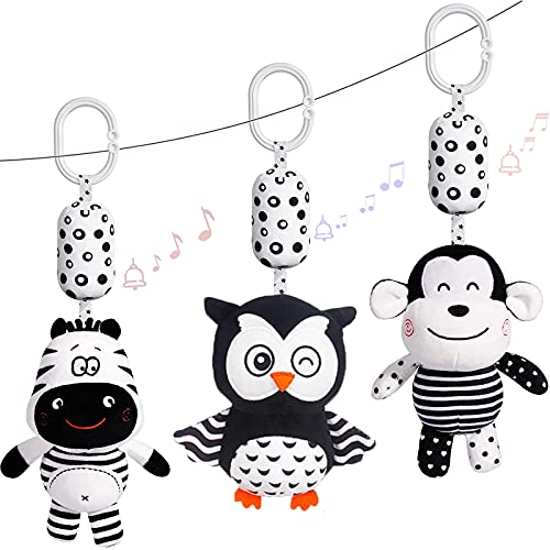 Black and White Stroller Toy, 3pcs Plush Animal Baby Hanging Rattle Toys Built-In Wind Chimes、Sound Paper、Bb Device, Sensory Educational Toy for Babies Boys And Girls from 0 - 12 Months