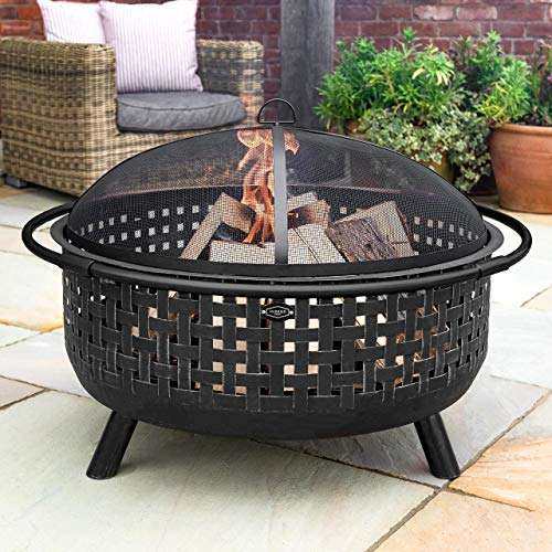 Harrier Woven Outdoor Fire Pits | Fire Pits For Garden | Intricate Woven Design - Steel Garden Fire Pits | Firepit Bowl With Spark Screen, Log Grate & Poker