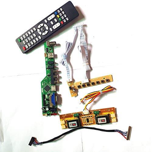 LM201WE3-TLF5/TLF6 LCD Display Panel 4CCFL 30Pin LVDS T.V53 Controller Board Fernbedienung + Inverter + Tastatur VGA HDMI AV USB RF Kit (LM201WE3-TLF6)