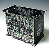 Alive Jewellery - Caja de regalo para madre de perla asiática, laca negra de madera, joya regalo de recuerdo para joyas, tesoro, cajón, pecho, estuche soporte organizador con flor y pájaro