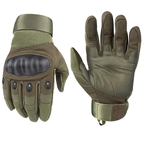 HIKEMAN Tactical Army Military Rubber Hard Knuckle Outdoor Full Finger Gloves for Men Fit for Cycling Motorcycle Hiking Camping Powersports Airsoft Paintball (Army green, Medium)