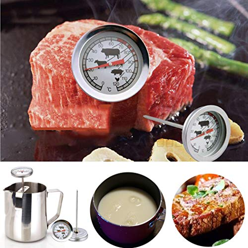 Deep Fry Thermometer With Instant Read Dial Thermometer Stainless Steel Stem Meat Cooking Thermometer,Best for Turkey,BBQ,Grill