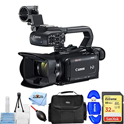 Canon XA11 Compact Full HD Camcorder with HDMI and Composite Output (PAL) Essential Bundle with Extreme 32GB SD, Memory Card Reader, Gadget Bag, Blower, Microfiber Cloth and Cleaning Kit by Pixel Hub
