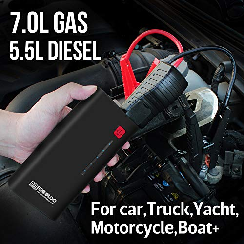 GOOLOO 1200A Peak 18000mAh SuperSafe Car Jump Starter with USB Quick Charge 3.0 (Up to 7.0L Gas or 5.5L Diesel Engine), 12V Portable Power Pack Auto Battery Booster Phone Charger Built-in LED Light