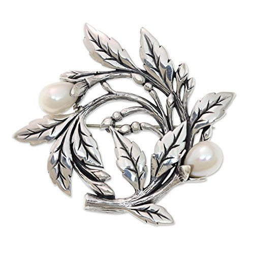 NOVICA Silver White Cultured Freshwater Pearl .925 Sterling Silver Floral Brooch Pin 'Budding Cotton'