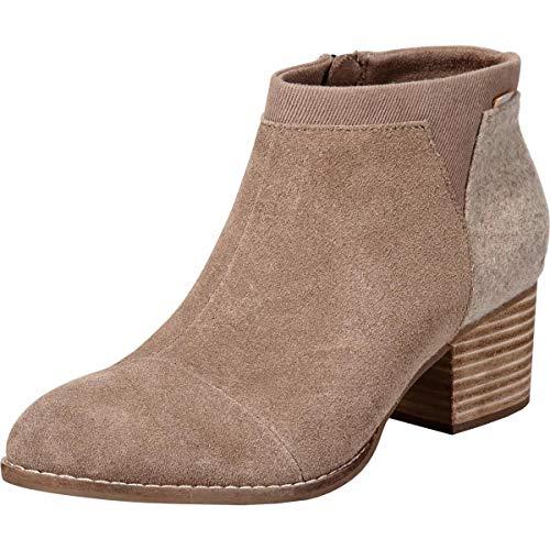 TOMS Women's Loren Stacked Heel Ankle Bootie Taupe Gray Suede/Felt 5 M