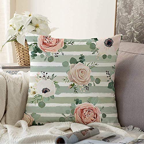 N\A Fundas Decorativas para Cojines Funda de cojín Pink Bloom Eucalipto Floral Acuarela Diseño primaveral Naturaleza Rústico Ramo de Moda Melocotón Botánico Funda de Almohada para sofá Sofá