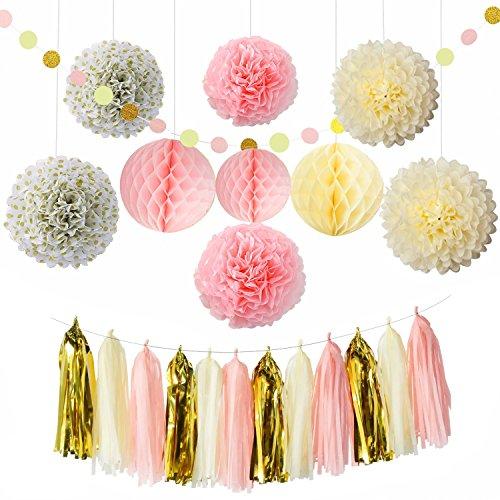 Sogorge Party Decoration Kit (25 Pieces) - Cream,Pink & Gold - Tissue Paper Decor w/Pom Poms, Balls, Tassels, Garland - Birthday Parties, Bridal Showers, Baby Showers, Bridal, Wedding
