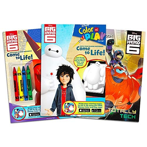 Big Hero 6 Coloring Book Super Set -- 3 Coloring and Activity Books with Games, Puzzles, and Crayons (Big Hero 6 Party Supplies)