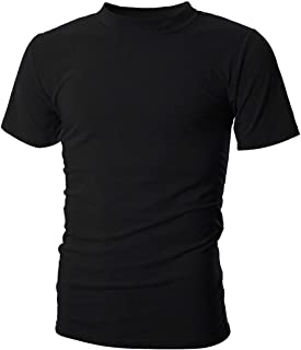 Men's Mockneck Short Sleeve T-Shirt Classic Casual Summer Pullover Basic Tops