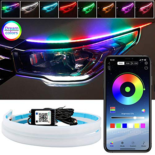 LEDCARE Car Headlight Surface Strip Tube Light, RGB Multi Color 24 Inch Flexible Waterproof LED Daytime Running Light Strip Neon Turn Signal Lights Switchback Light (APP Control) 2-Pack