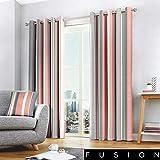 Fusion Whitworth Stripe Dos Paneles de Cortina, Tela, Curtains: 66' Width x 90'...
