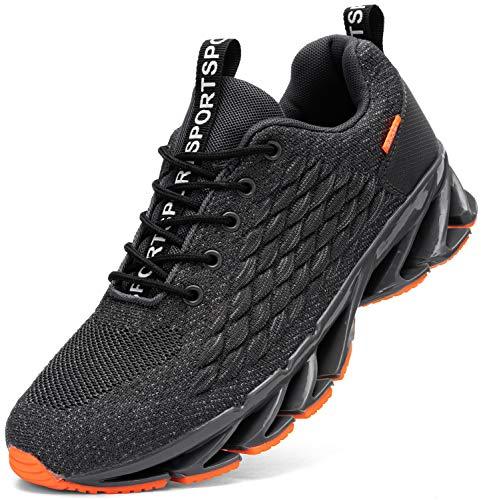 Kefuwu Laufschuhe Herren Sportschuhe Straßenlaufschuhe Sneaker Joggingschuhe Atmungsaktiv Turnschuhe Walkingschuhe Traillauf Fitness Schuhe Outdoor(Grau 44)