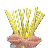 Cannucce di carta a righe bianche e gialle per coriandoli felicità (confezione da 100)...