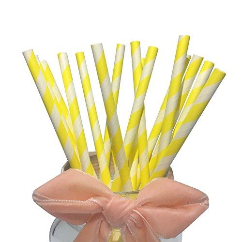 Paja de Papel Amarillo con Rayas Amarillas y Blancas Eco-Friendly 7.75 Biodegradable para Beber, Ideal para Fiestas, Cumpleaños (Paquete de 100)