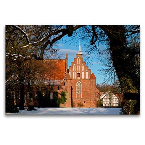 Premium Textil-Leinwand 120 cm x 80 cm quer Kloster Wienhausen | Wandbild, Bild auf Keilrahmen, Fertigbild auf echter Leinwand, Leinwanddruck
