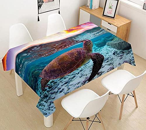 Yqgdss Animal De Tortuga Marina En El Mar Mantel 3D Diseño De Cocina Mesa De Comedor Mesa De Comedor Decoración De Cocina Comedor Familiar Actividades Interiores Al Aire Libre 90x90cm