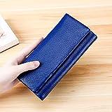 Bolsa MMGZ 3591C multifunción Litchi Textura Billetera de Cuero de Gran Capacidad Monedero (Negro) (Color : Blue)