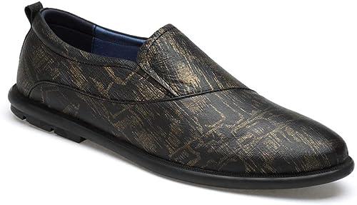 EGS-schuhe Turnschuhe für Herren Sportschuhe Slip On OX Material Round Toe Passende Farben Low Top Schuhe,Grille Schuhe (Farbe   Gold, Größe   39 EU)