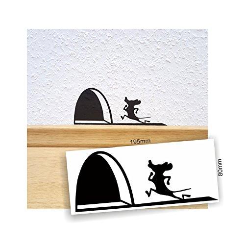 easydruck24de Aufkleber Mauseloch, Farbe: schwarz matt, Art. dv_620, Mauseloch, rennende Maus, Wandtattoo, Dekoration, Aufkleber für Wand, Mausaufkleber kontur geschnitten