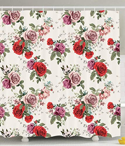 werert Flower Shower Curtain Decorations, Spring Rose Tree Flowers Blo