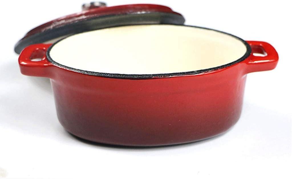 LEILEI Casserole antiadhésive Ovale Mini Cocotte 12 cm avec Couvercle à Fond Plat(Couleur:Rouge) Red