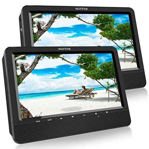 WONNIE【2台セット】ヘッドレストモニター DVDプレーヤー 10.5インチ 車載 リージョンフリー CPRM/SD/AV/USB対応 三つ給電式 後席モニター 5時間再生可能 メーカー3年保証