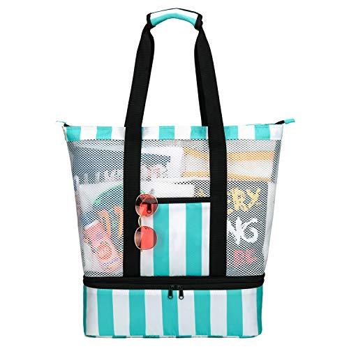 Strandtasche Groß mit Kühlfach Reißverschluss Sommer Tasche für Strand Urlaub Reise Picknick Shopper (Grün/Weiß) von Bertasche