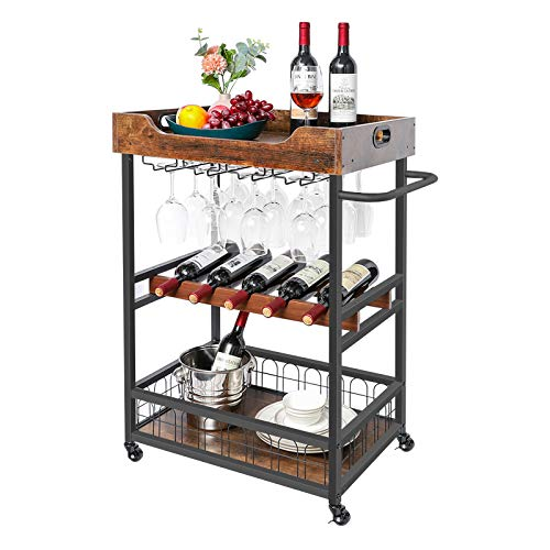 rustic bar carts X-cosrack Bar Cart with Wine Rack,Mobile Kitchen Serving Cart with Storage and Glass Holder,Removable Wood Tray, Industrial Wine Cart on Wheels with Handle,Rustic Brown