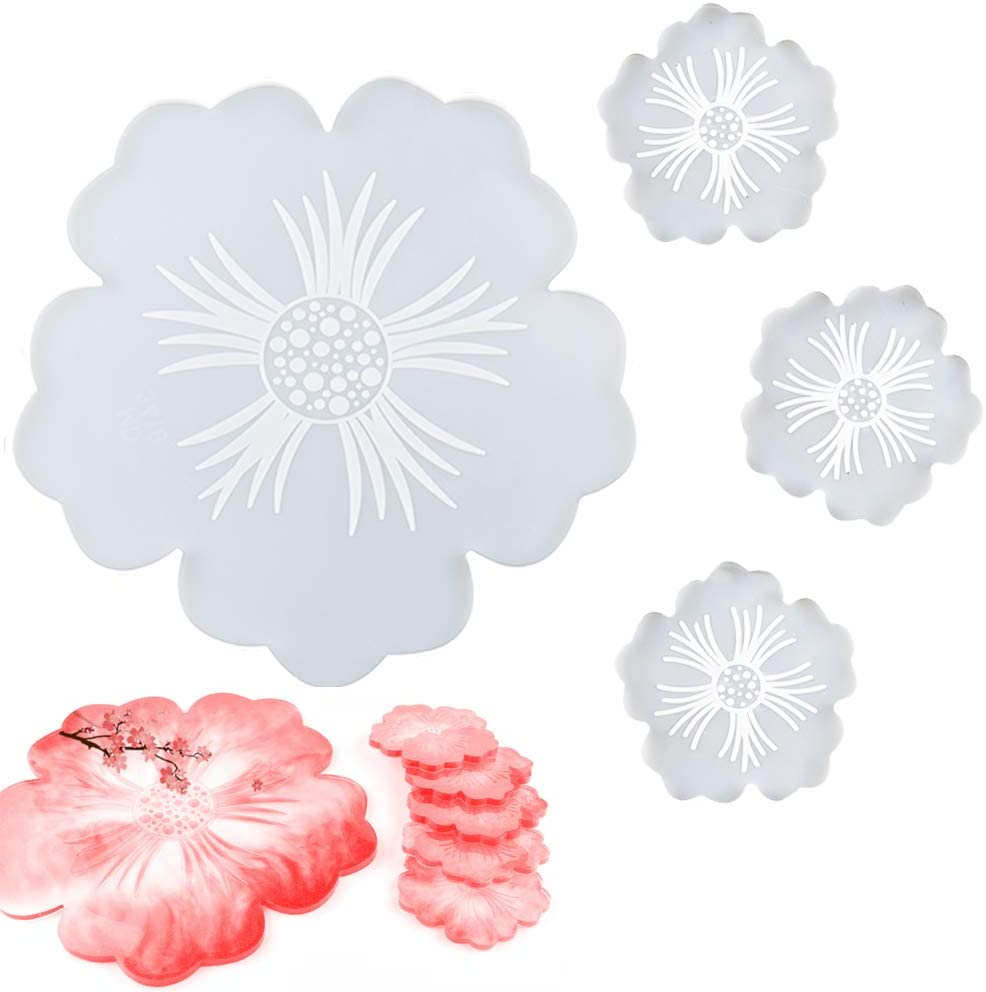 4 Pack Flower Coaster Resin Irregular Max Max 68% OFF 65% OFF Molds Silicone Petal Large