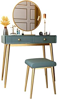 Vanity Table Set with Mirror Vanity Set avec Miroir Coiffeuse avec 2 Table de Maquillage tiroirs coulissants et molletonné...