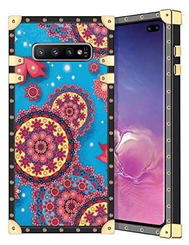 Coolden for Galaxy S10 Plus Case Square Glitter Edges Stylish Luxury Totem Pattern for Women Girls Protective Corner Soft Slim TPU Shell Cover for Samsung Galaxy S10+ Plus 6.4 Inch Blue Mandala