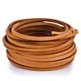 TeeLiy 3MM Flat Genuine Leather Cord - Natural Leather Lacing - Strip Cord Braiding String for Jewelry Making Shoe Lace Braided Bracelets Necklaces Handbags Knife Sheaths Tan (5Yards)