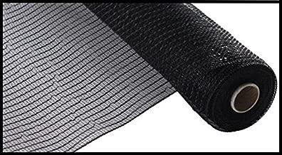 Wide Foil Deco Poly Mesh Ribbon, 10 Inches x 30 Feet (Black, Black Foil)