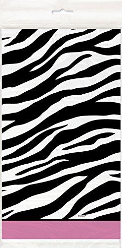 "Zebra Print Plastic Tablecloth, 84"" x 54"""