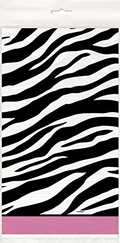"Zebra Print Plastic Tablecloth, 84"" x 54"""