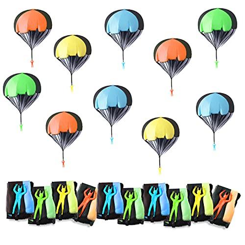 Herefun 10 Piezas Juguetes de Paracaídas Set, Mano Que Lanza el Juguete del Paracaidista, Mini Paracaidista de Juguetes al Aire Libre para Niños Regalo Fiesta Cumpleaños (A)
