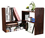PAG Desktop Bookshelf Adjustable Countertop Bookcase Office Supplies Wood Desk Organizer Accessories Display Rack, Brown